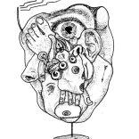 """""""Body Alien"""" (ball-point pen on paper, 21x29,7cm), 200 euros"""