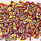 """HellYeah Part1"" (mixed medias on paper, 60x45cm), 1200 euros"
