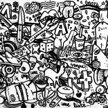 """Graffidraw in sand"" (ink on paper, 21x29,7cm), 150 euros"